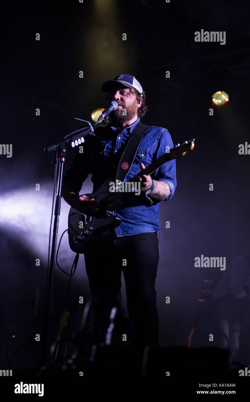 Thornhill, Schottland, Großbritannien - 1 September, 2017: Scott Hutchison von Scottish indie rock Band verängstigten Stockbild