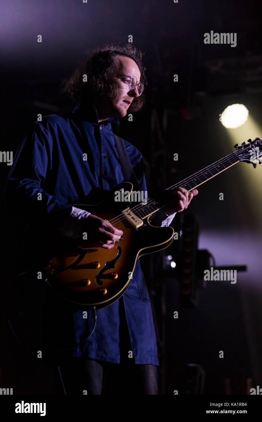 Thornhill, Schottland, Großbritannien - 1 September, 2017: Andy Monaghan der Schottischen indie rock Band verängstigten Stockbild