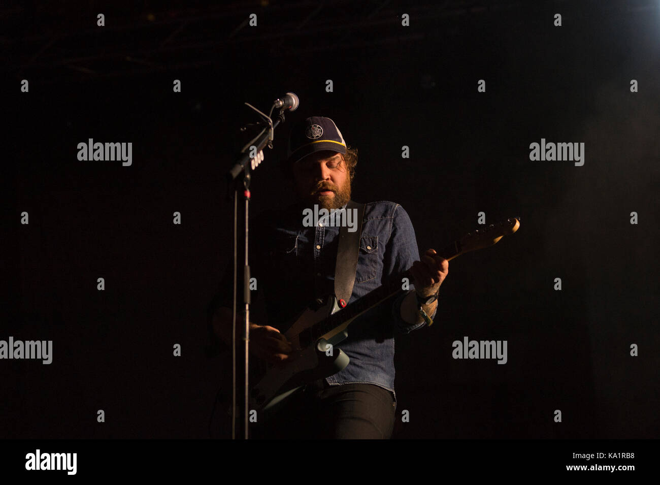 Thornhill, Schottland, Großbritannien - 1 September, 2017: Scott Hutchison von Scottish indie rock Band verängstigten Stockbild