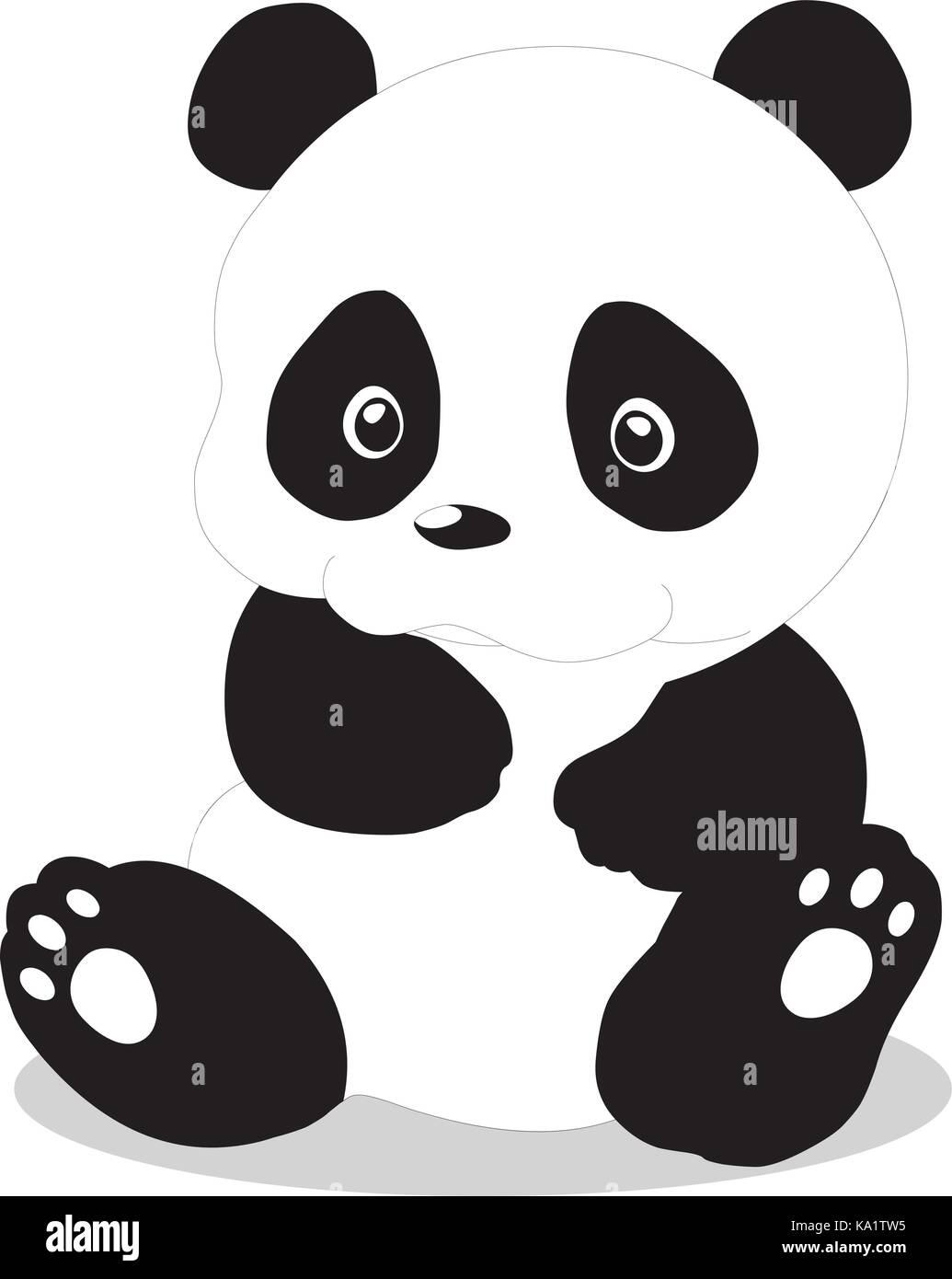 Cute Baby Panda Cartoon Vektor Abbildung Bild 161081345 Alamy