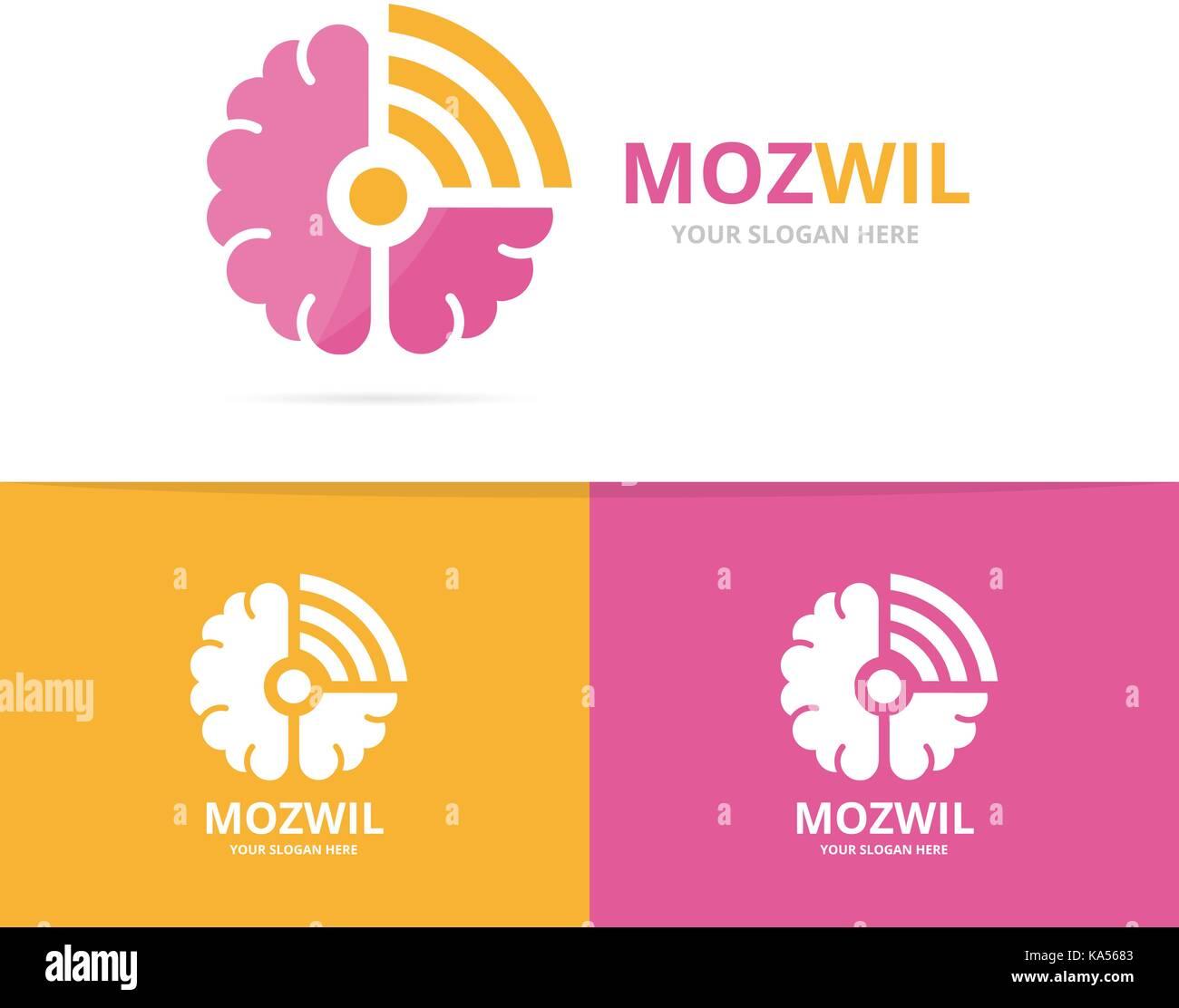 Vektor Gehirn Und Wlan Logo Kombination Bildung Und Signal