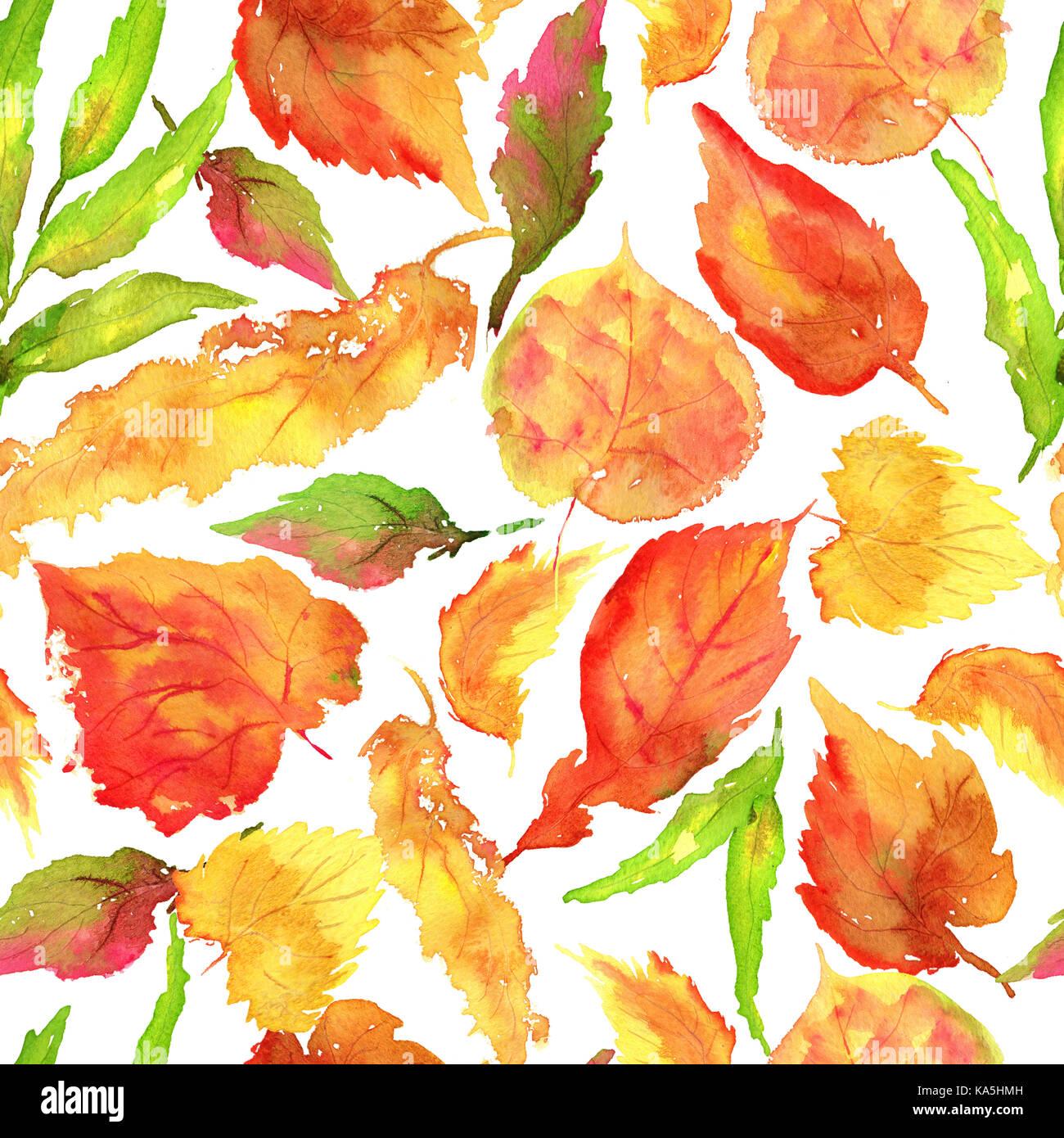 Hand Zeichnen Aquarell Gelb Herbst Birkenblatter Muster Stockfoto