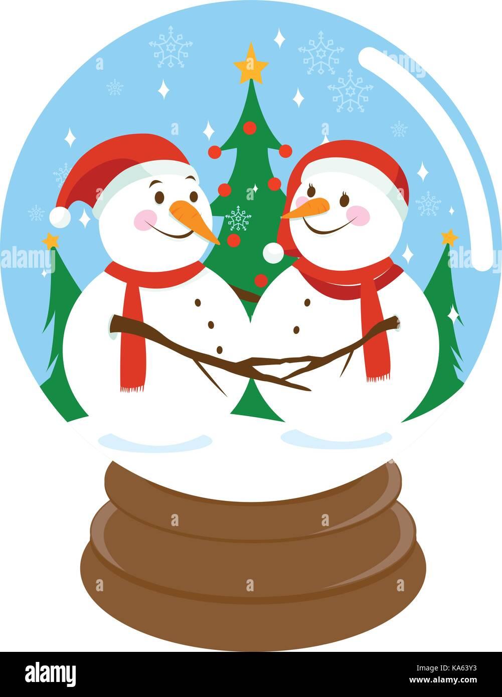 Süße Weihnachten Schneemänner innerhalb einer Schneekugel Vektor ...
