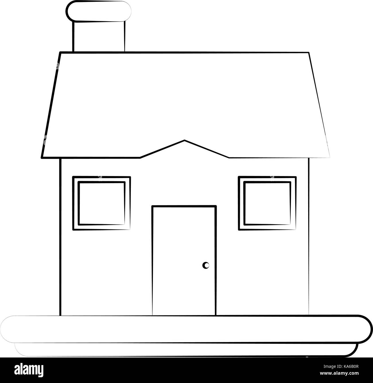 Typische Cartoon Haus Zeichnen Vektor Abbildung