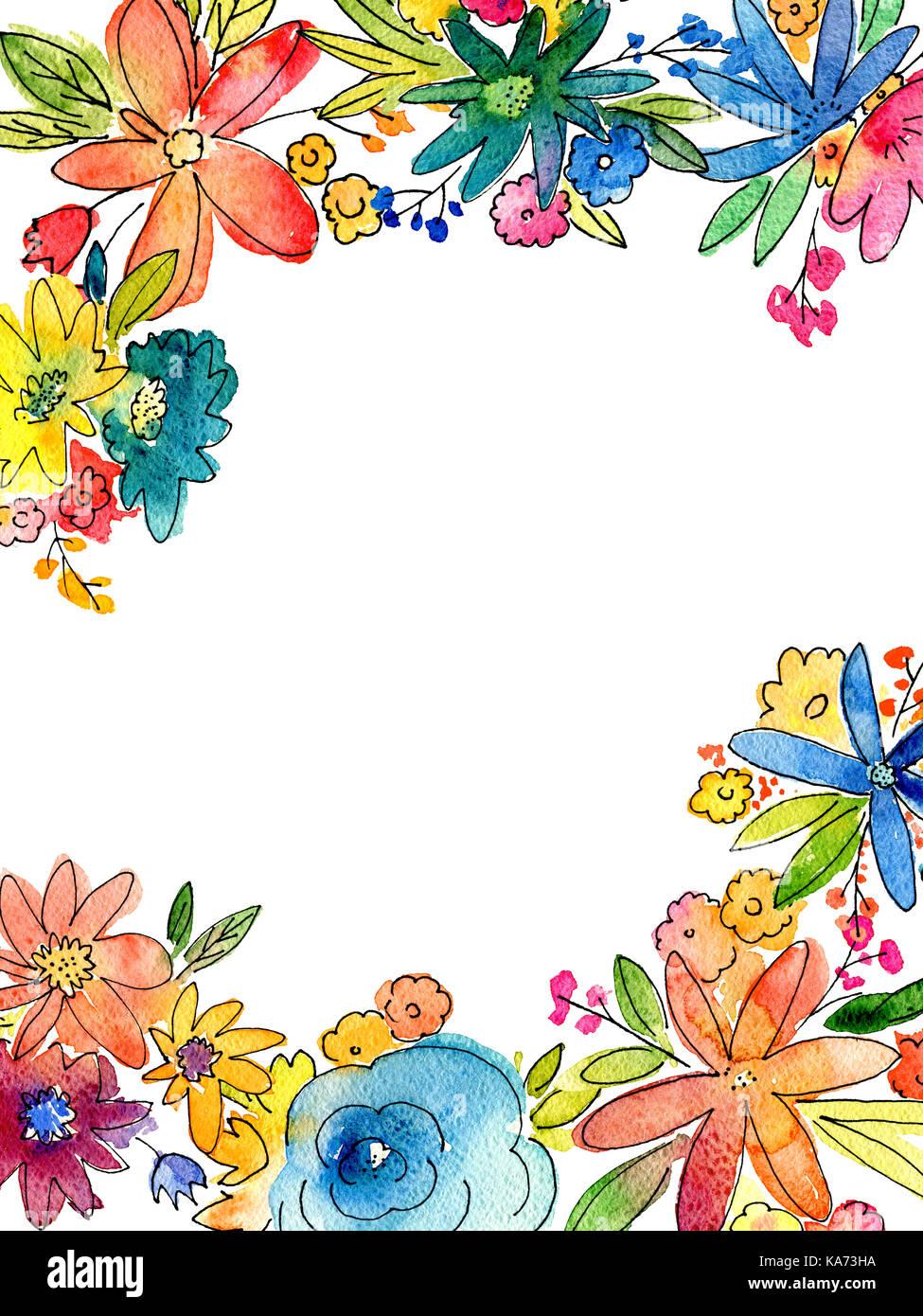 Aquarell Blume Rahmen Illustration mit leeren Kopie Raum in der ...