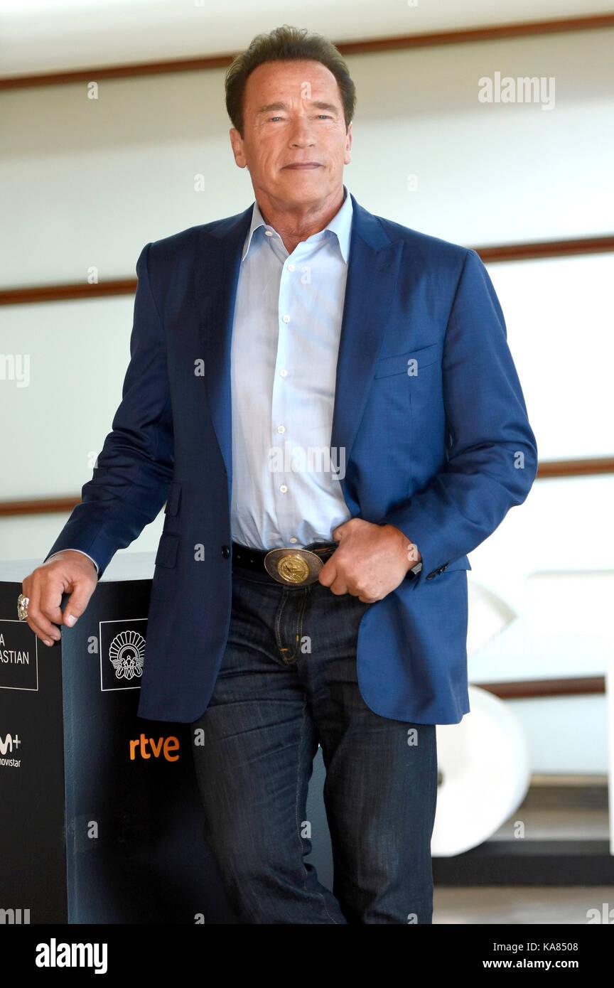 "San Sebastian, Spanien. 25 Sep, 2017. Arnold Schwarzenegger das ""Wunder von Meer 3 d'photocall während 65th San Stockfoto"
