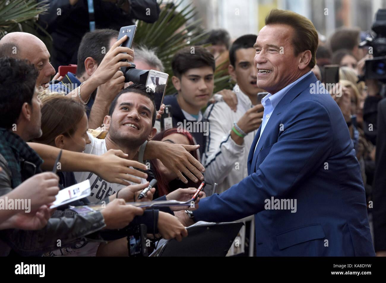 """San Sebastian, Spanien. 25 Sep, 2017. Arnold Schwarzenegger Besucht das """"Wunder von Meer 3 D'Premiere auf der Victoria Stockfoto"""