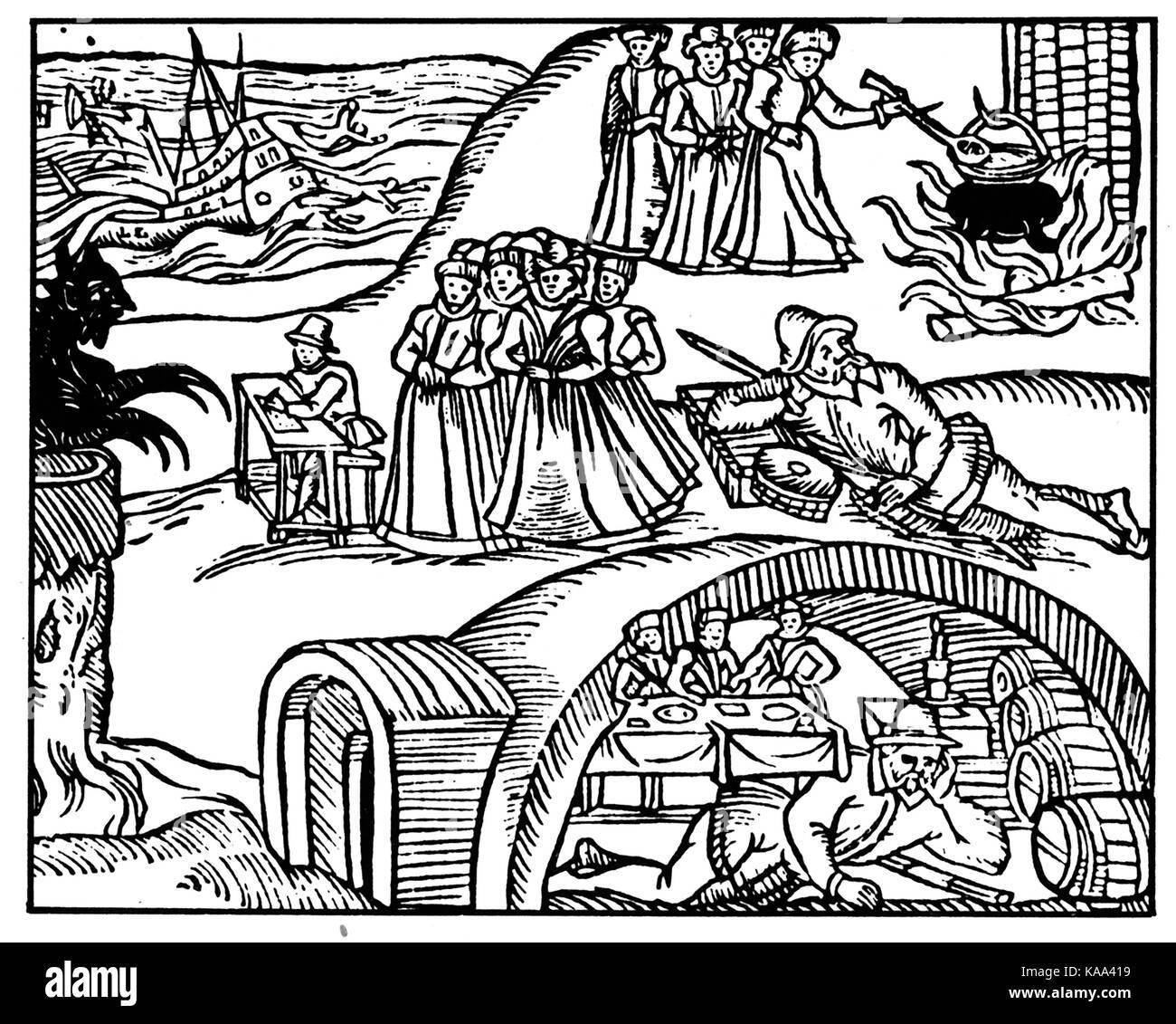 """Norden BEWICK HEXENPROZESSE 1590. Holzschnitt aus der Broschüre 1591 """"Newes aus Schottland"""", die Stockbild"""
