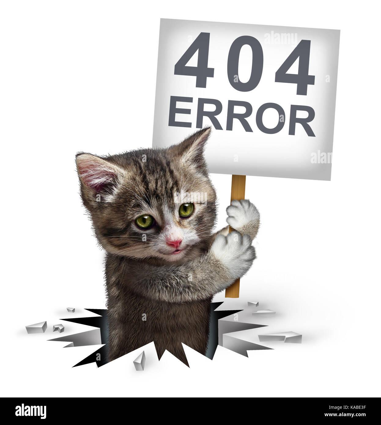 Fehler 404 Seite nicht gefunden Konzept und eine gebrochene oder toter Link Symbol wie ein Kätzchen Katze aus Stockbild