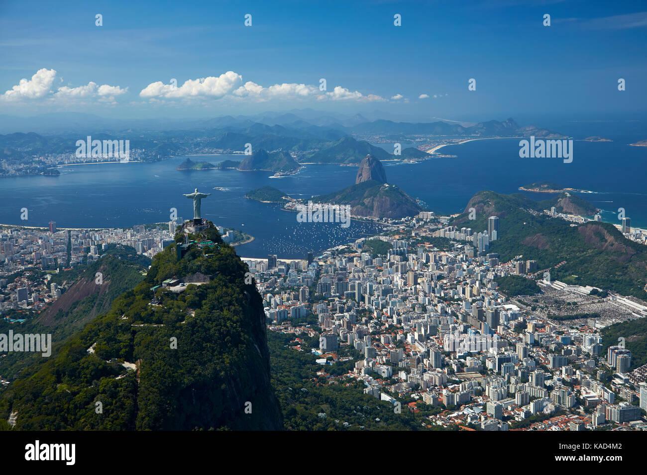 Dem Erlöser Christus Statue Auf Dem Corcovado Und Zuckerhut Rio De