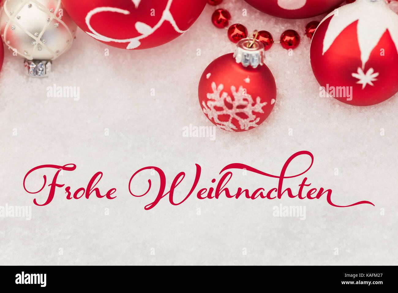 Deutsche Slogan \'Frohe Weihnachten\' (Frohe Weihnachten) auf ...