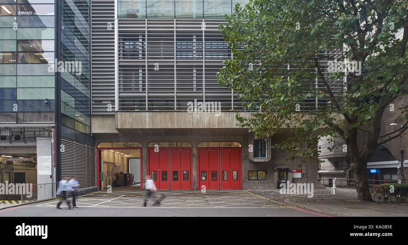 Dowgate Feuerwache von Hubbard Ford & Partner, 1975, London entwickelt Stockbild