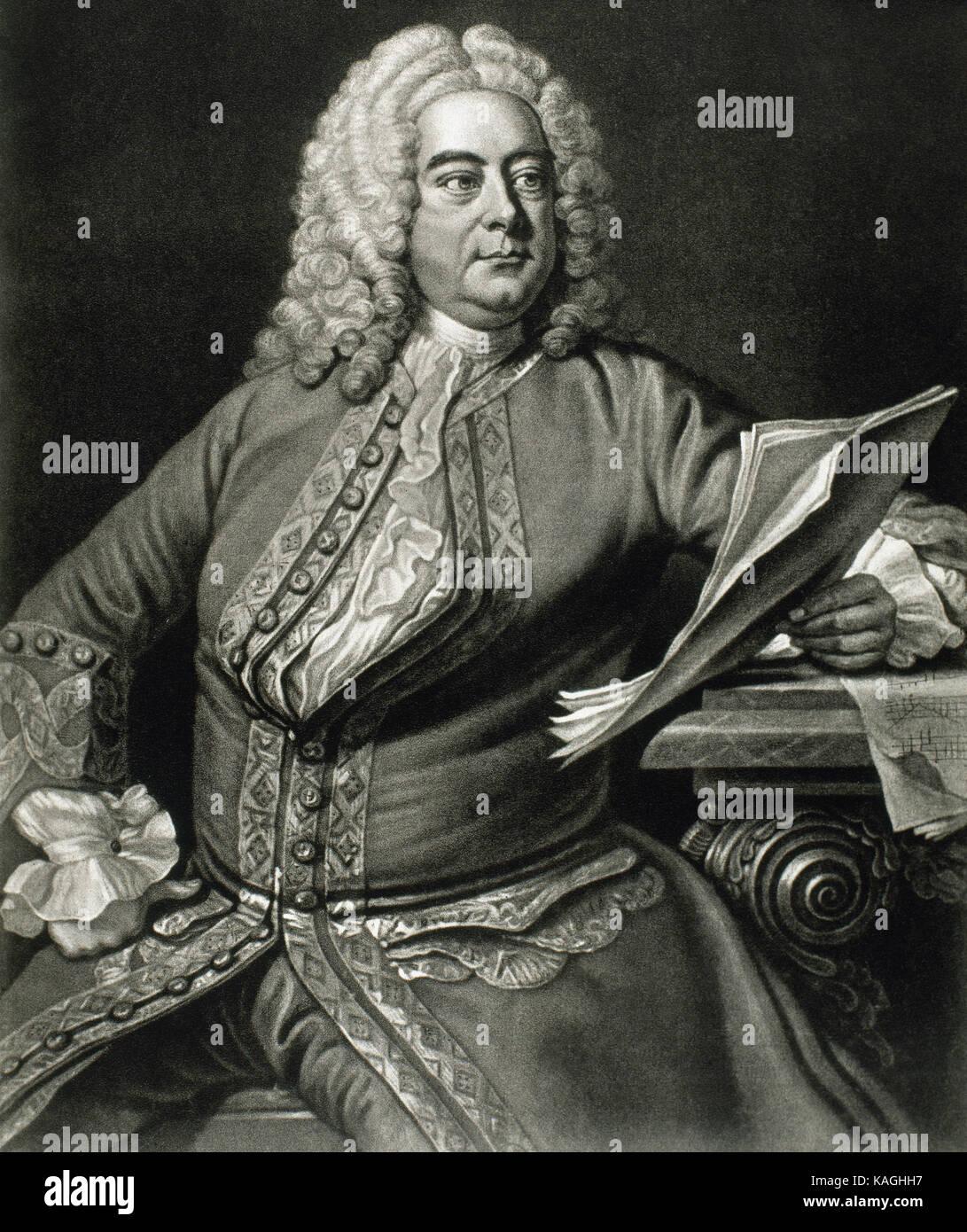 Georg Friedrich Händel (1685-1759). Deutsch, später Britischen, barocken Komponisten. Porträt. Gravur. Stockbild