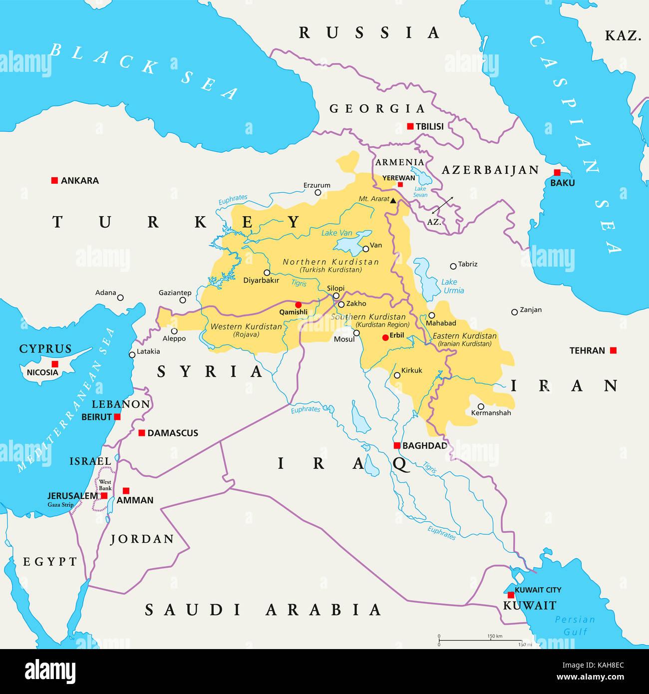 Syrien Irak Karte.Region Kurdistan Politische Karte Kurdische Bewohnten Gebiete Im