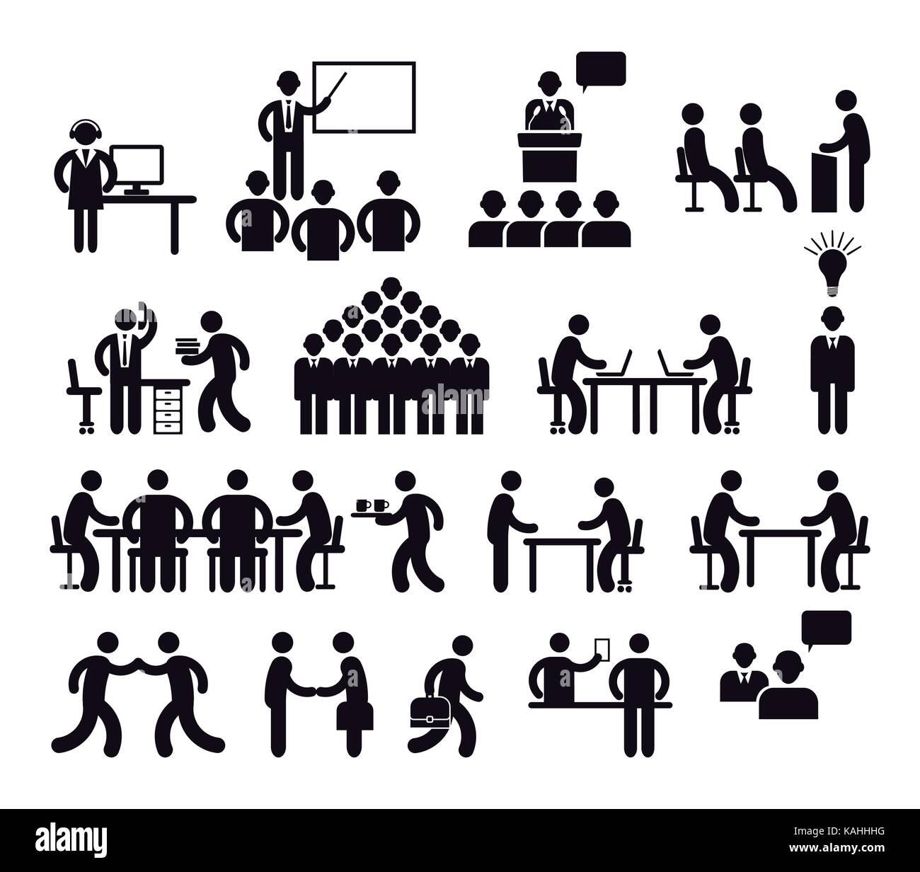 Workplace Konzept, Piktogramm Abbildung Stockbild