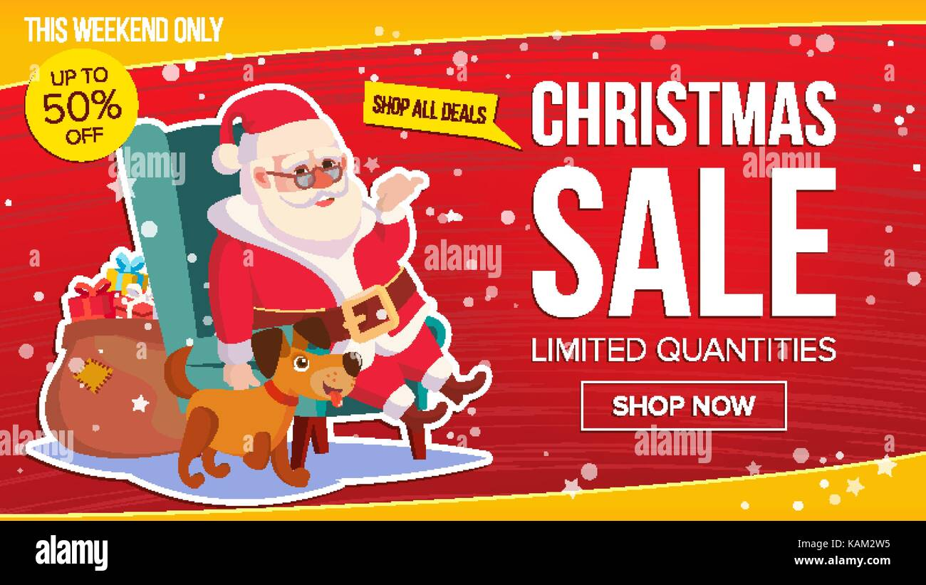 Big Weihnachten Verkauf Banner mit Santa Claus. Vektor. Business ...