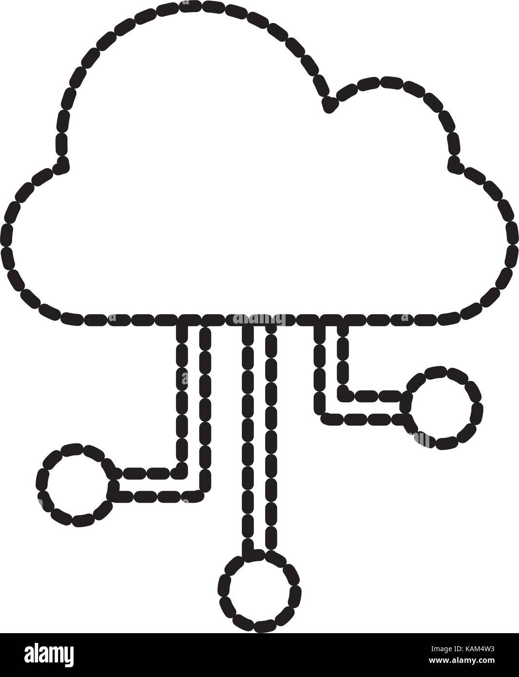 Cloud Computing Technologie Kommunikationsverbindung digitale Vernetzung Stock Vektor