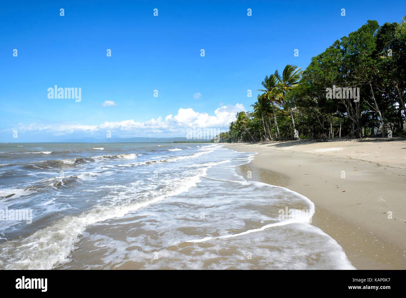 Exotische einsame Sandstrand, Newell Strand, Far North Queensland, FNQ, QLD, Australien Stockbild
