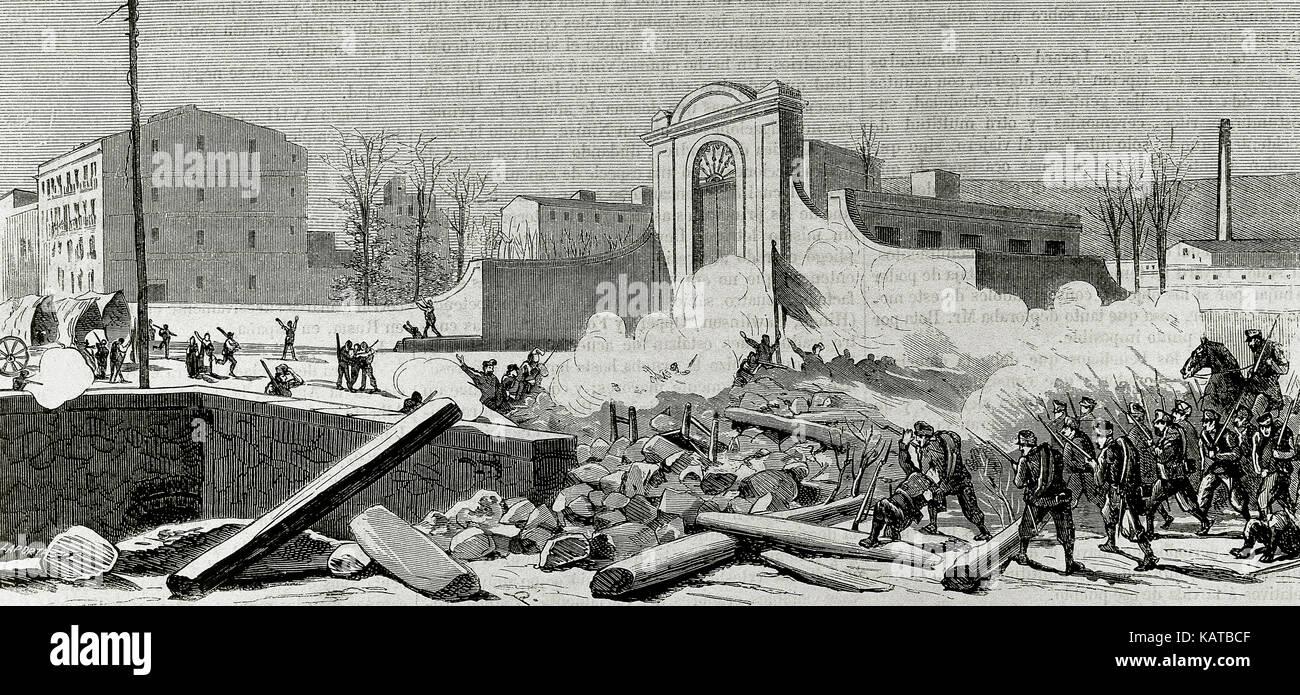 """Spanien. Katalonien. Barcelona. Aufstand gegen die Wehrpflicht in 1870. Die Barrikade errichtet am Fuße des Espana Industrial (Stadtteil Sants) ist durch die Truppen angegriffen. Kupferstich von laporta. 'La Ilustracion Espanola y Americana"""", 1870. Stockfoto"""