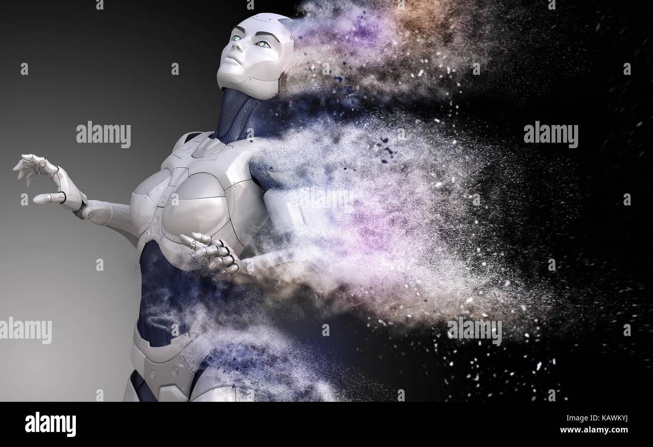 Cyborg zersplitterte in Staub. 3D-Darstellung Stockbild