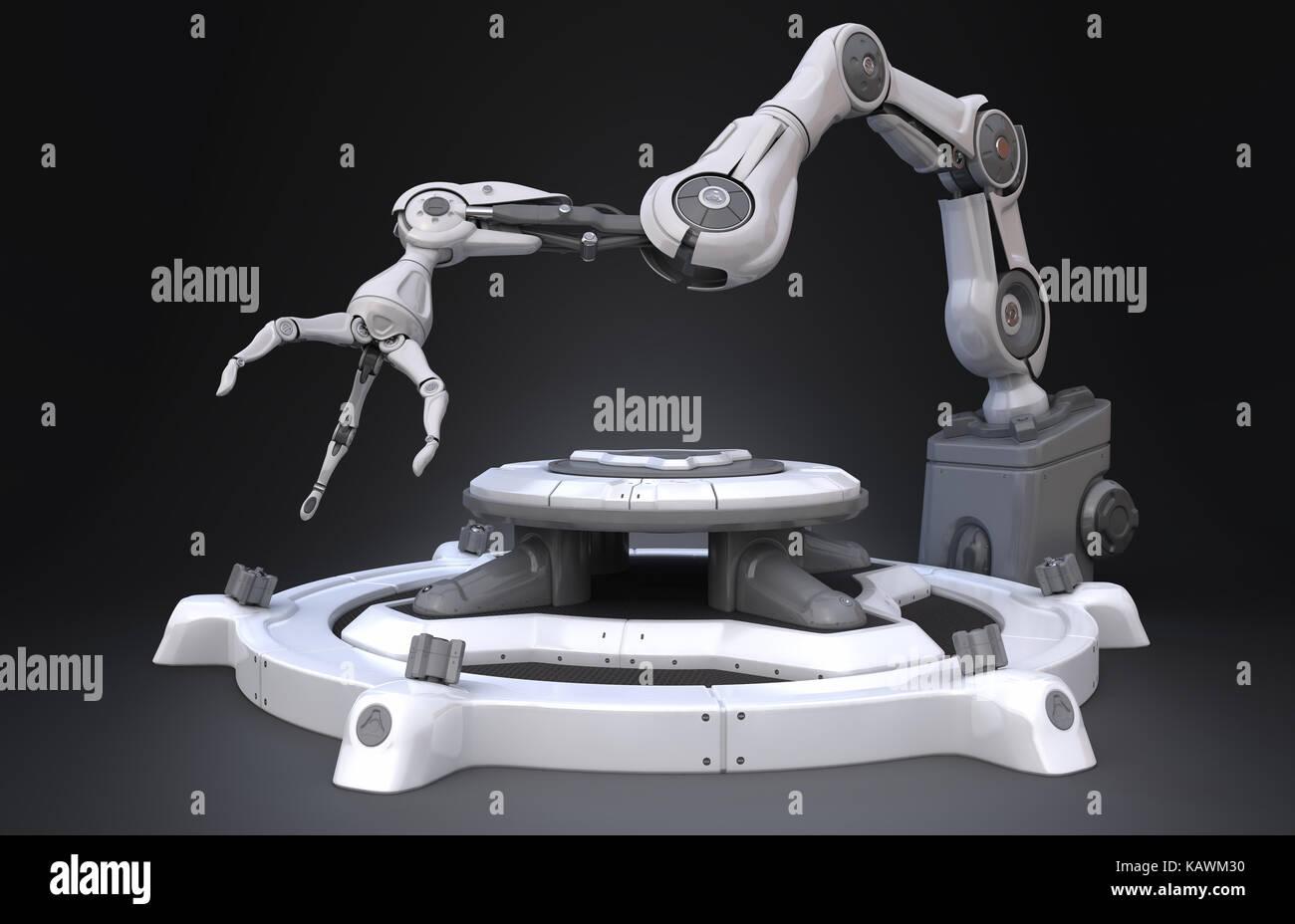 Sci-Fi Industrial robot arm. 3D-Darstellung Stockbild