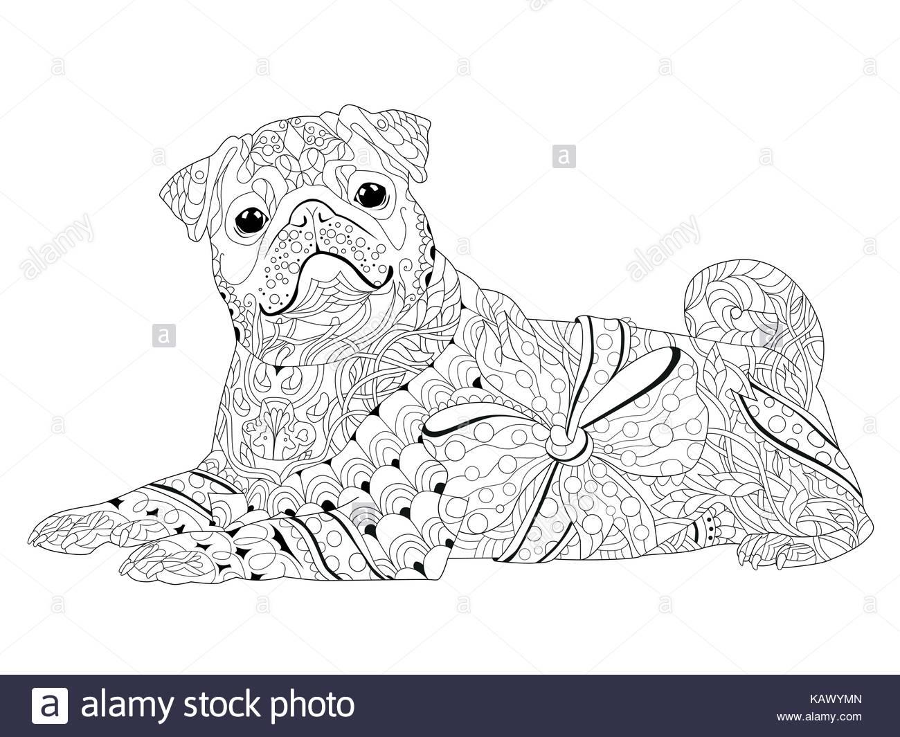 Hund zentangle mit klaren Linien für Malbuch für Anti stress gestylt ...