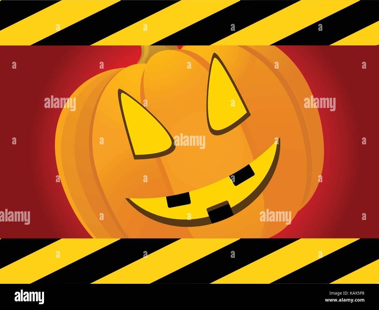 Halloween Roter Hintergrund mit Schwarz-gelb gestreiften Rahmen und ...
