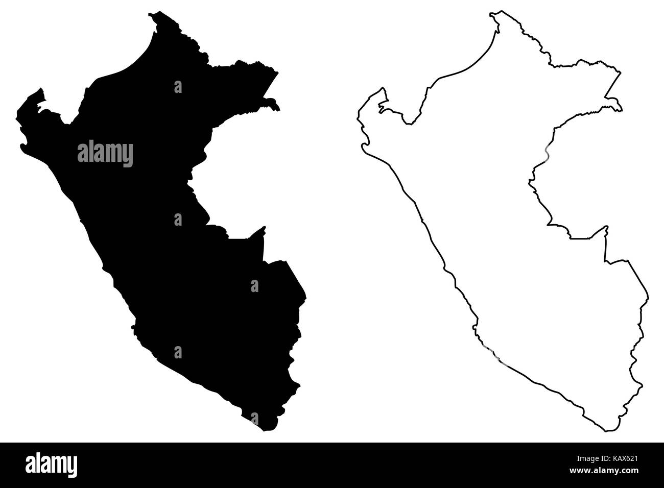 Peru Karte Umriss.Peru Karte Vektor Illustration Kritzeln Skizze Peru Vektor
