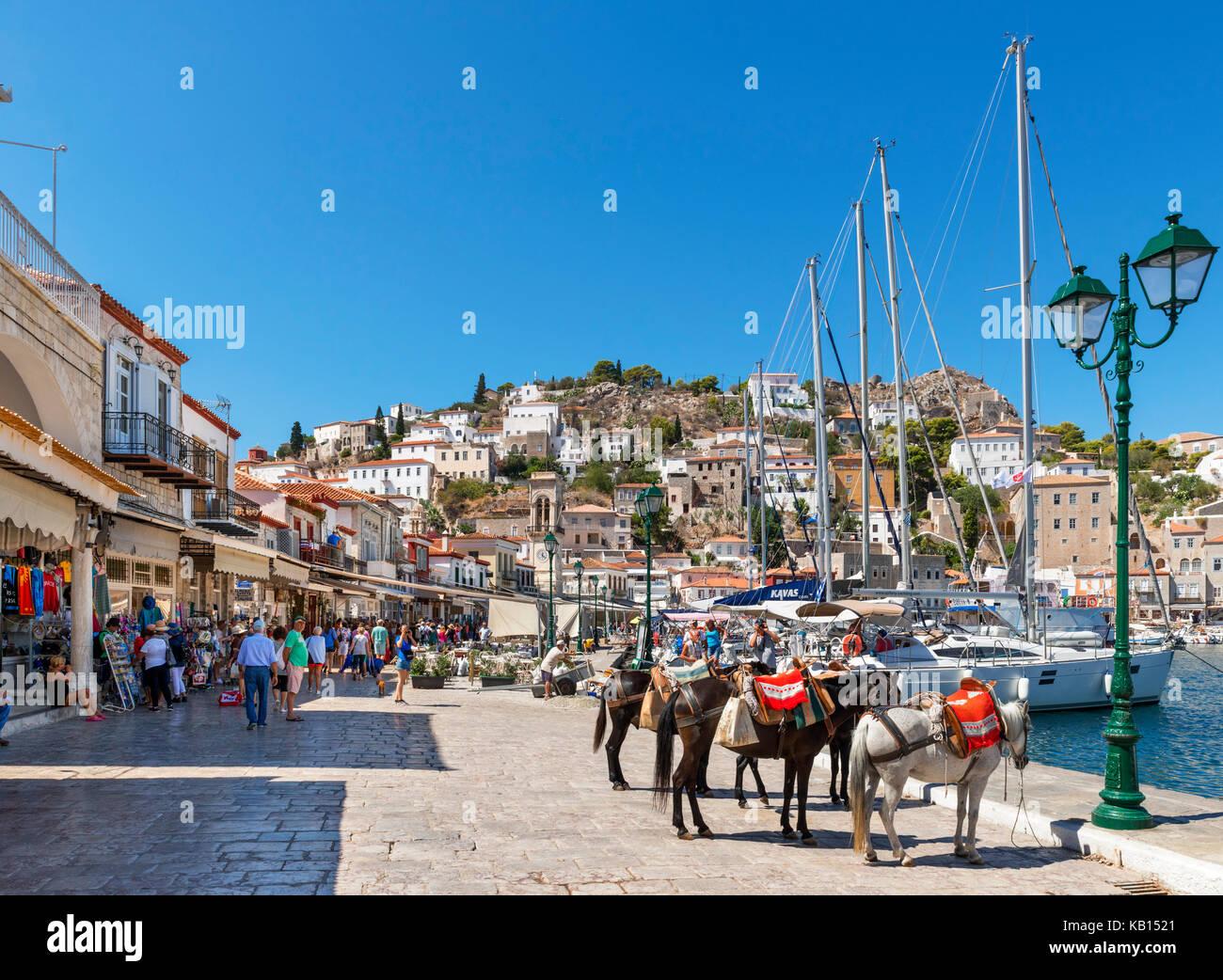 Der Hafen von Hydra, Griechenland, Saronische Inseln Stockbild