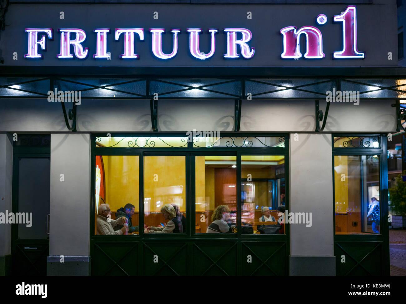 Belgien, Antwerpen, frituur Nummer 1, pommes-fritte Shop Stockbild