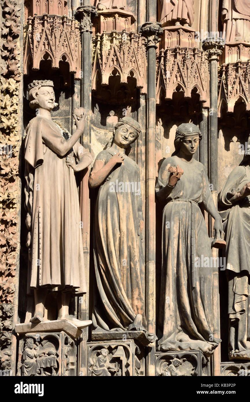 Frankreich, Bas Rhin, Straßburg, Altstadt als Weltkulturerbe von der UNESCO, die Kathedrale von Notre Dame Stockbild