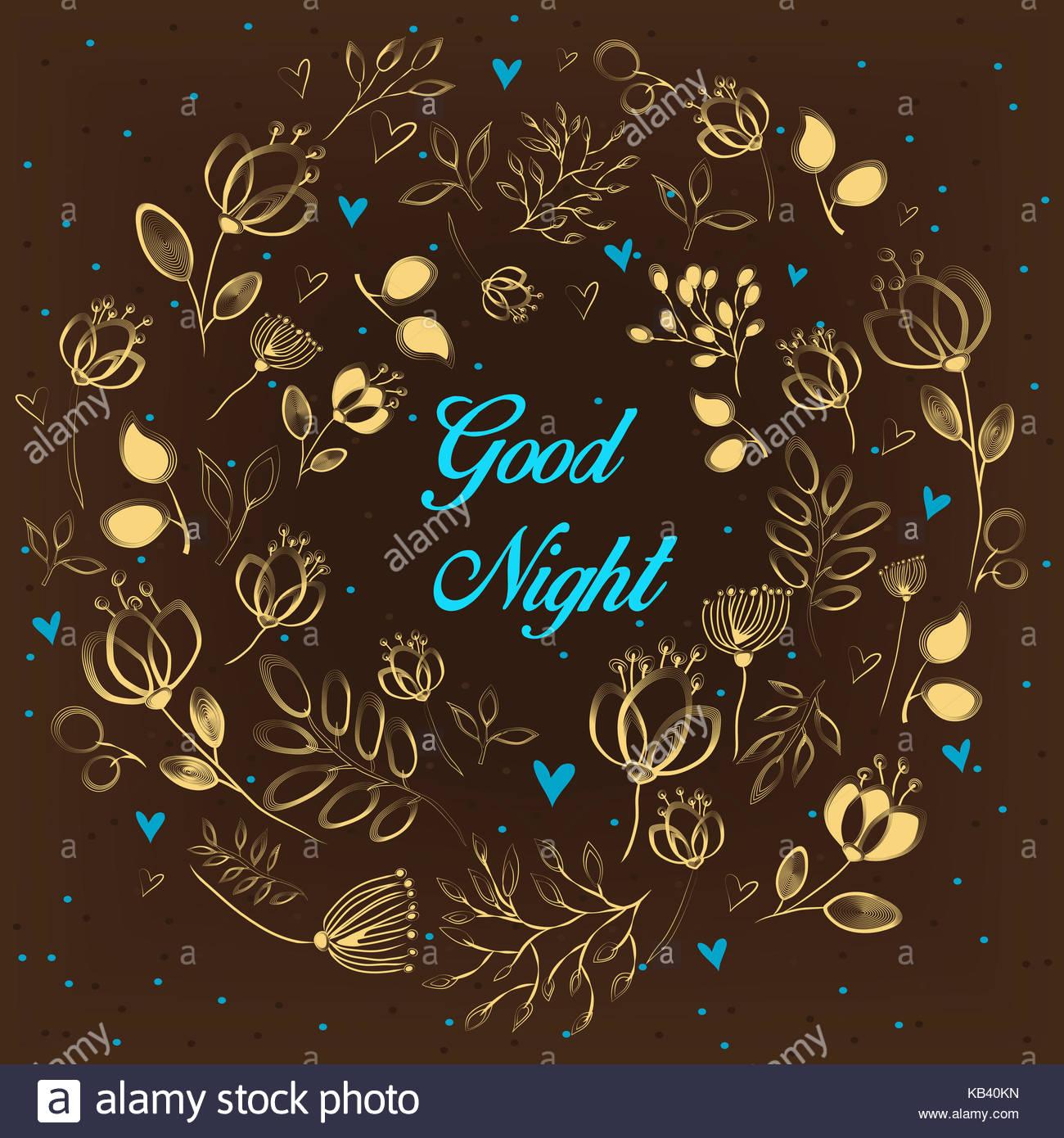 Goldene Blumen Ring Gute Nacht Blau Inschrift Anmutige Gelbe