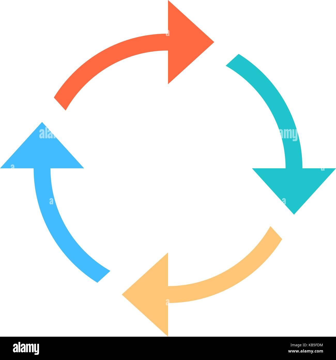 Farbige Pfeile, neu laden, aktualisieren, Rotation, Loop, Wiederholung, reset usw. Anzeichen im flachen Stil geschaffen. Stockbild