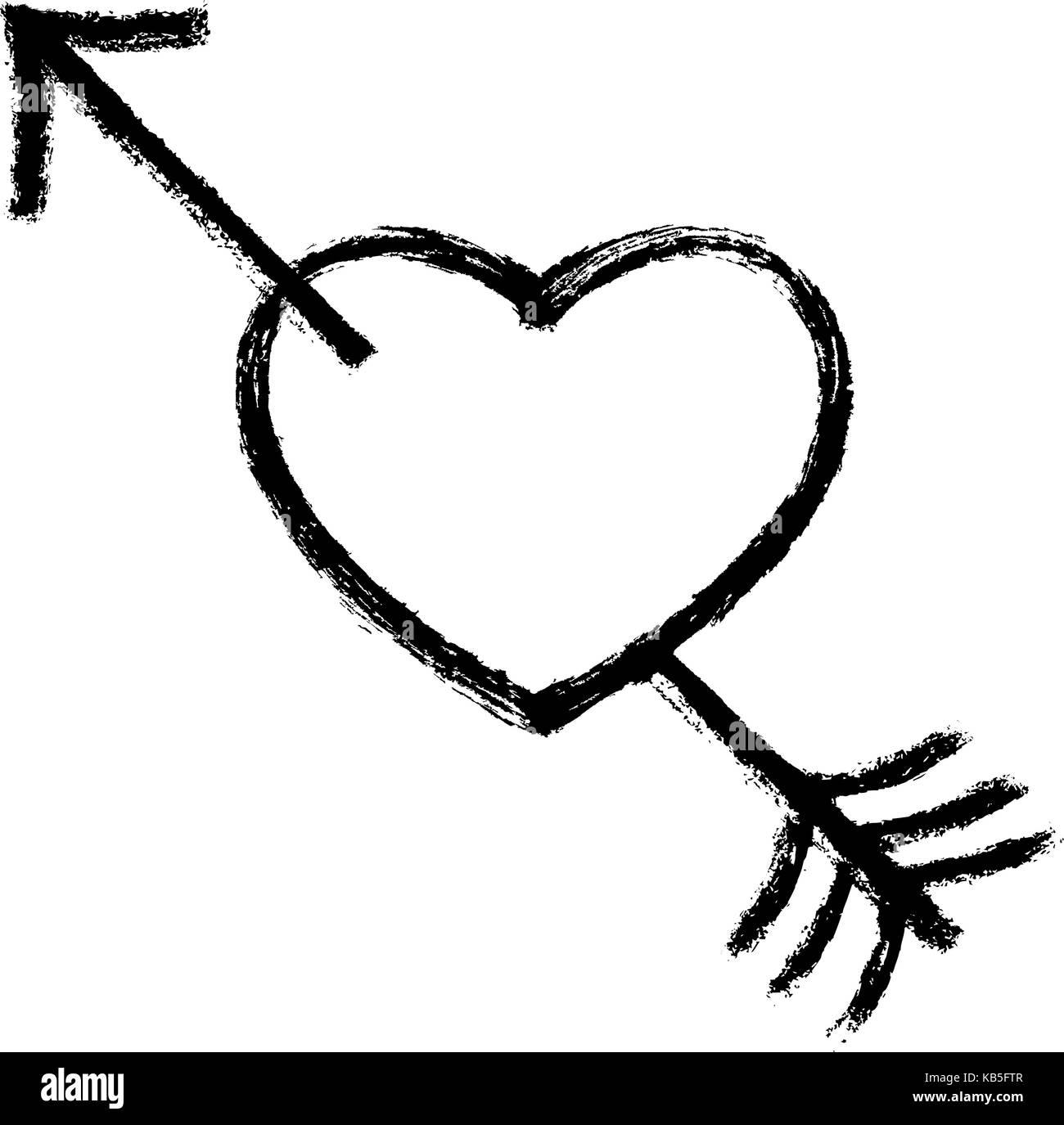 Verwenden Sie es in Ihren Entwürfen. Schwarzes Herz von einem Pfeil durchbohrt. Beliebtes Symbol mit Textur Stockbild