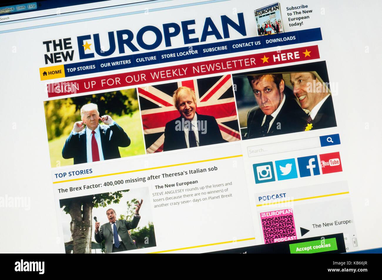Homepage der Pro-EU-und Anti-Brexit alternative Nachrichten website Die neue Europäische. Stockbild