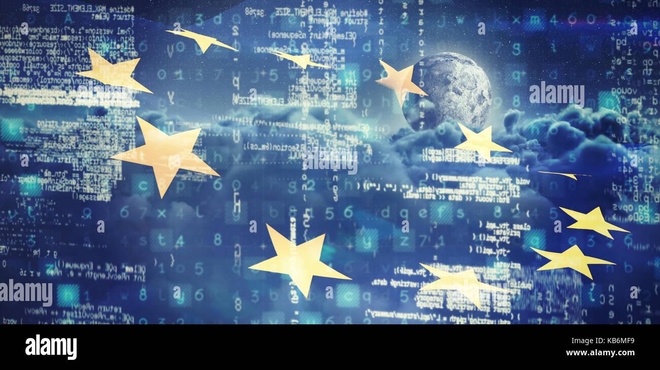 Bild von Daten gegen das zusammengesetzte Bild der Europäischen Union Flag und Wolken Stockbild