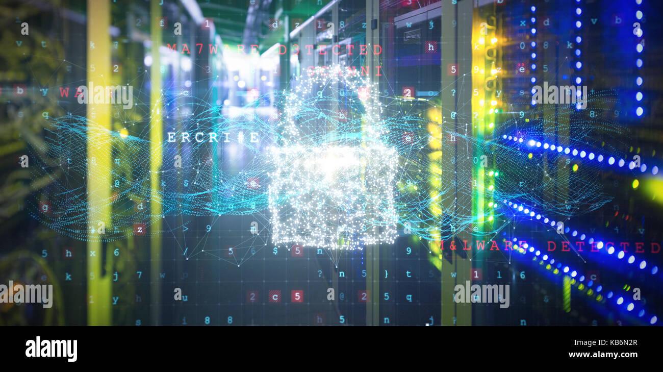 Das zusammengesetzte Bild im Schloss und Malware gegen die Ansicht der Daten Technologie erkannt Stockbild