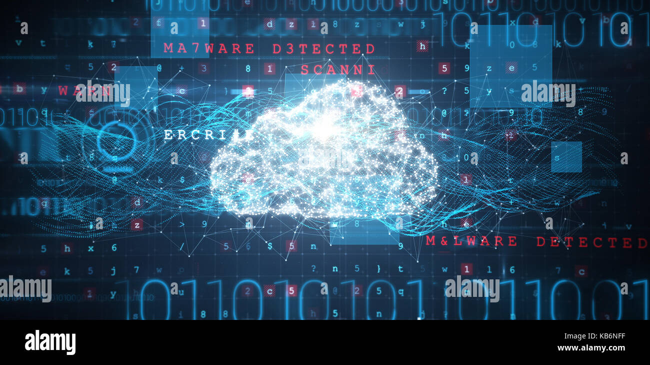 Schnittstelle gegen Cloud und Malware auf binäre Hintergrund erkannt Stockbild