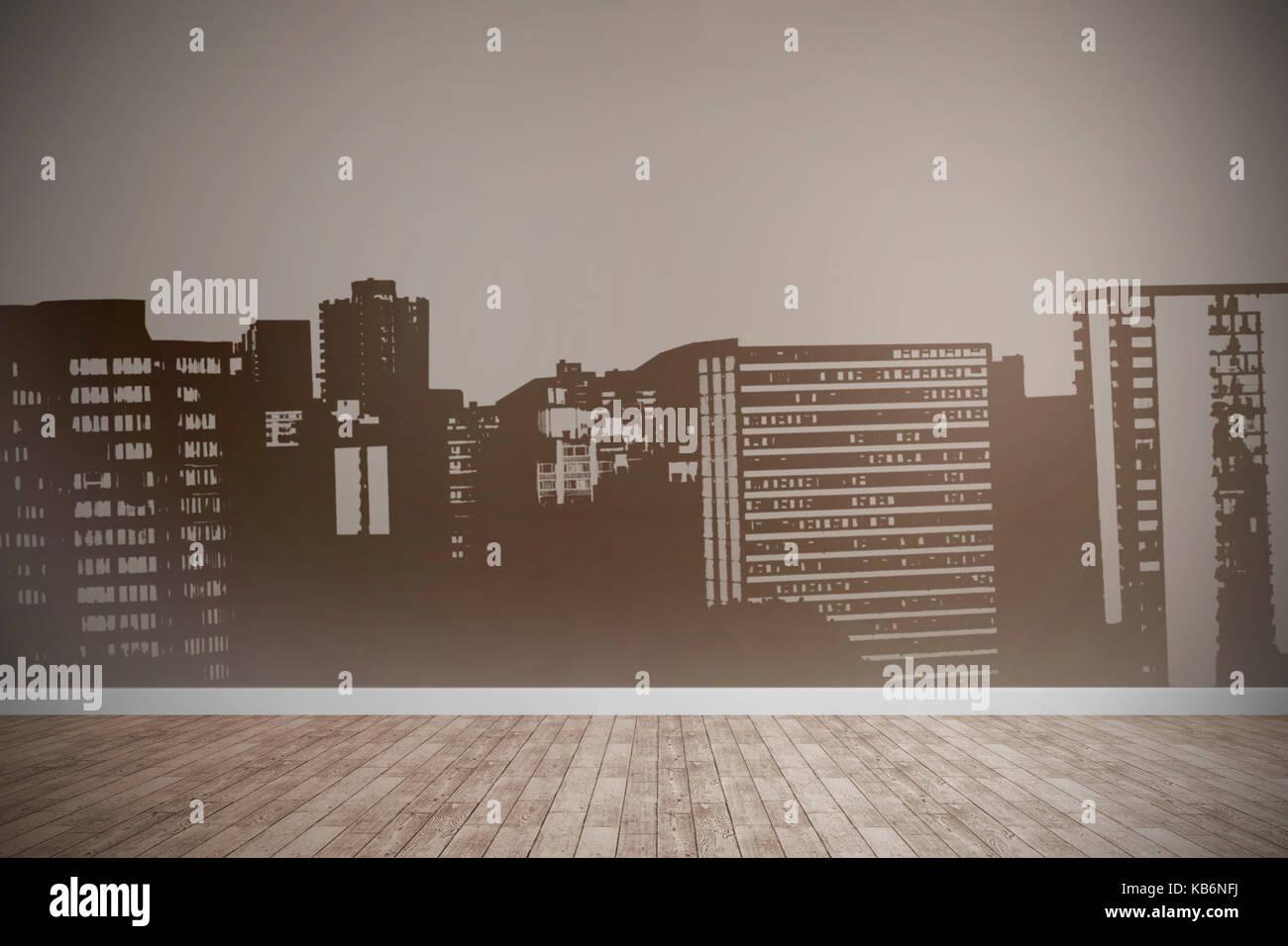 Computer erzeugte Bild von Gebäuden gegen Zimmer mit Holzboden Stockbild