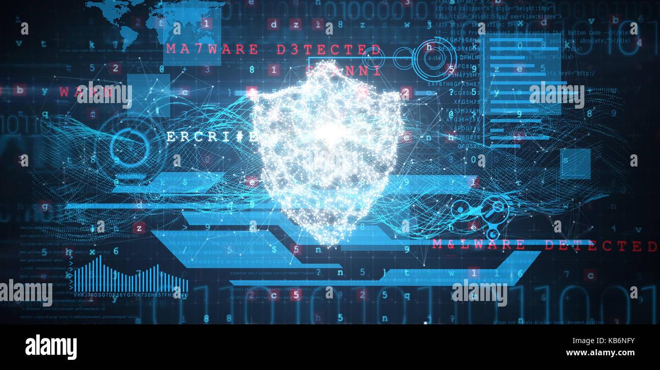 Schnittstelle gegen Schild und Malware auf binäre Hintergrund erkannt Stockbild