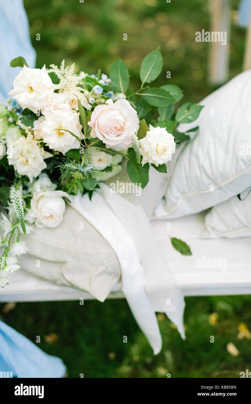 Engagement Zeremonie Urlaub Blumenarrangements Konzept Es Gibt