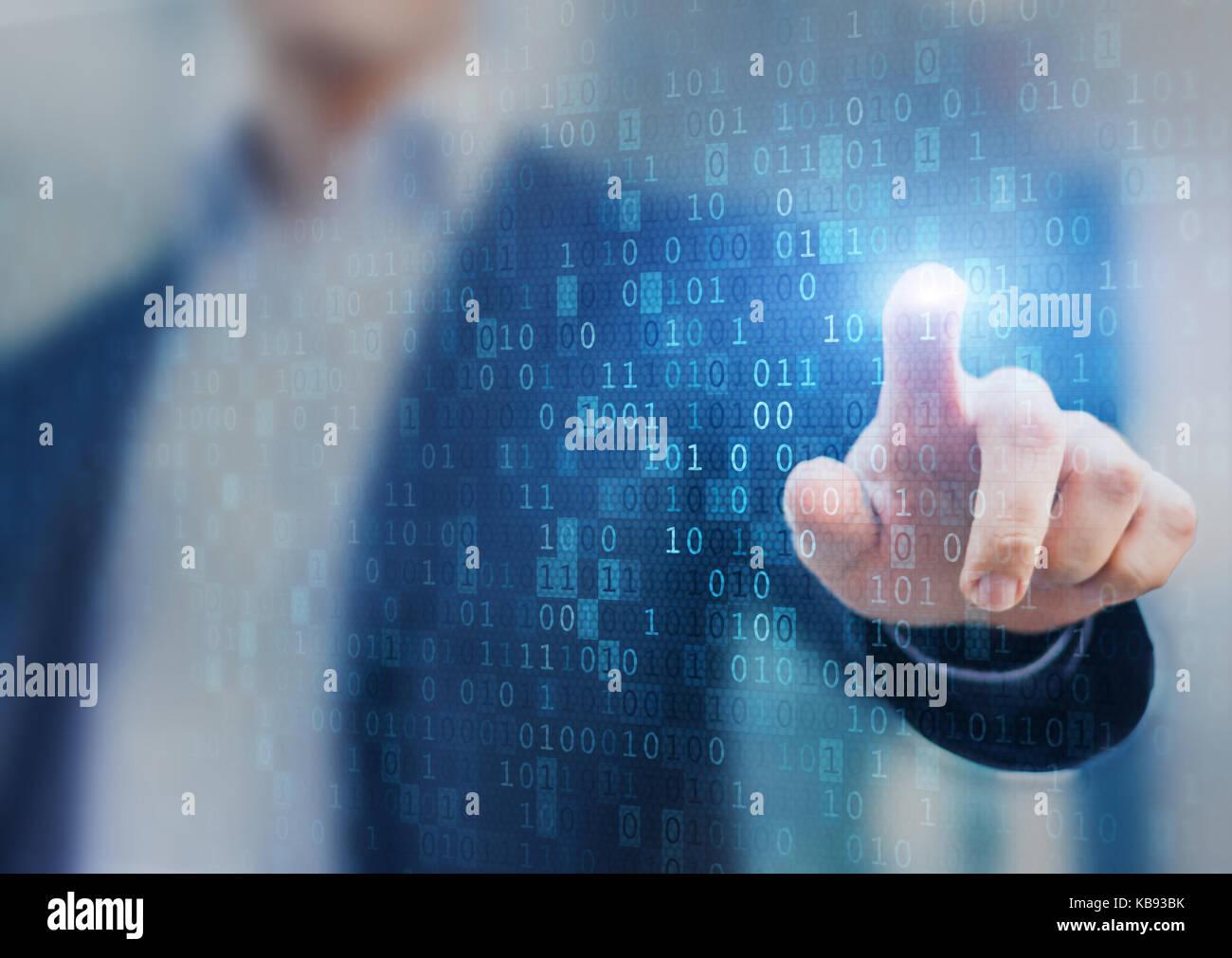 Große Daten, Statistiken und Business Analytics Konzept mit Fluß oder Strom der binäre Code Informationen Stockbild