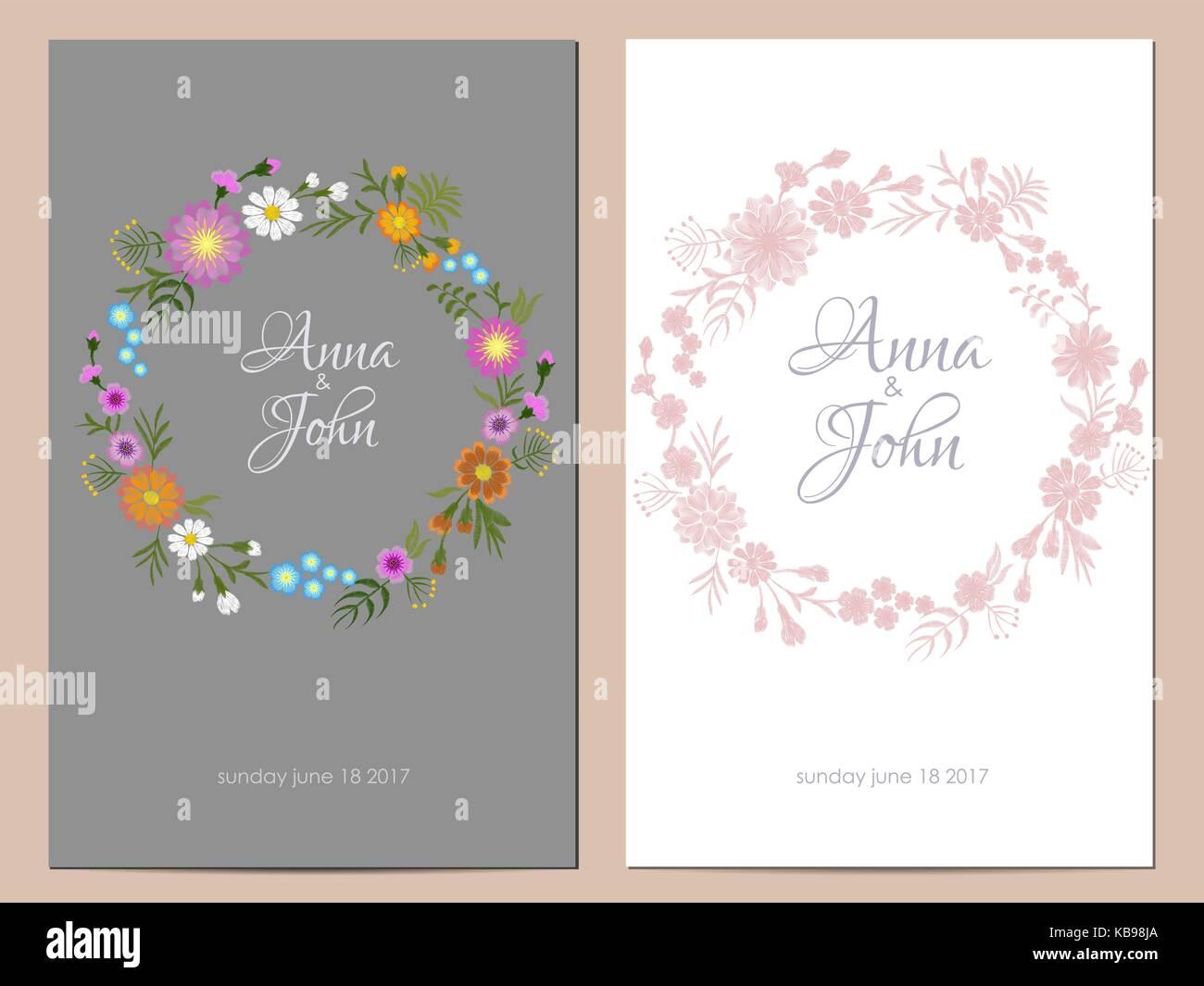 Feld Blumen Hochzeit Einladung. Datum Speichern Grußkarte Floral Runden  Design. Wild Dog Rose Rustikalen Traditionelle Vintage Stickerei Vector  Template