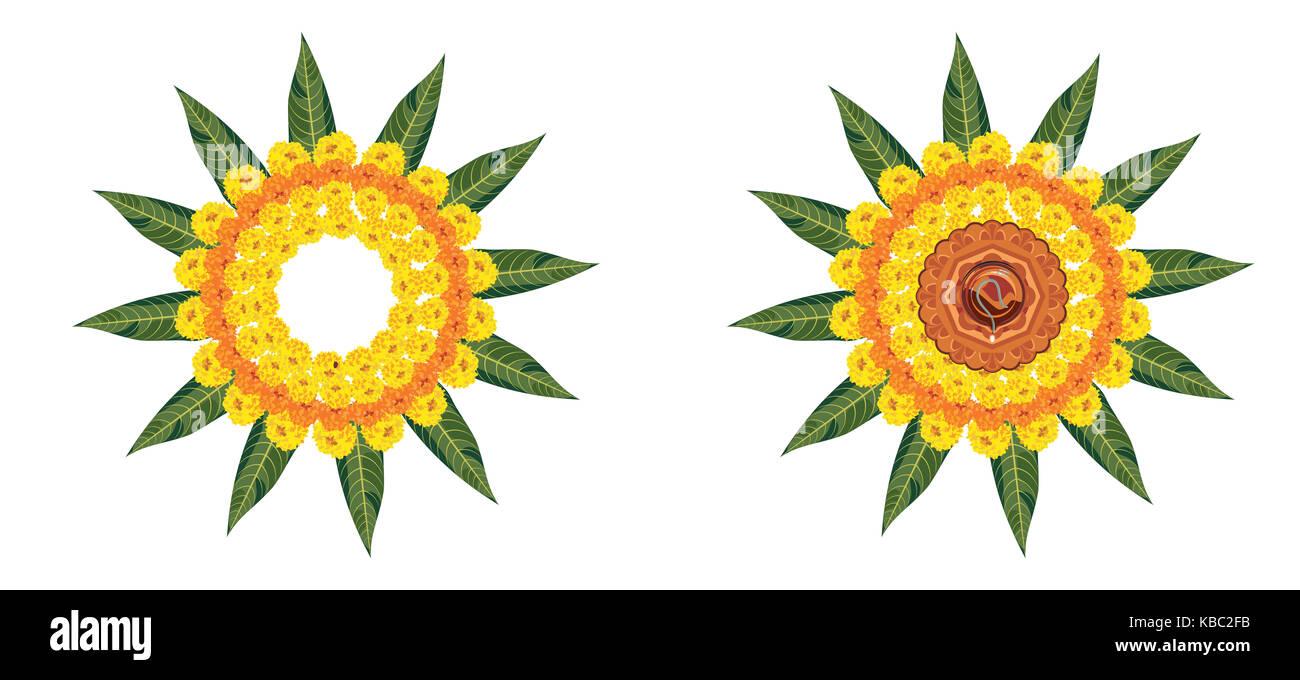 Vektor Blume rangoli für Diwali oder pongal oder onam mit Ringelblume oder zendu Blumen und roten Rosenblättern Stockbild