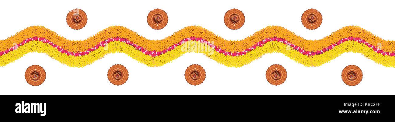 Vektor Blume rangoli oder Grenze Muster für Diwali oder pongal aus Ringelblume oder zendu Blumen und roten Stockbild