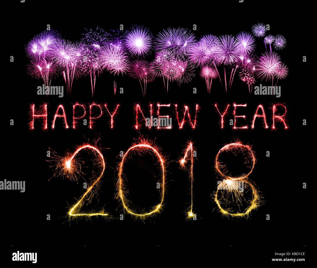 Frohes neues Jahr 2018 mit Schein Feuerwerk in der Nacht geschrieben ...