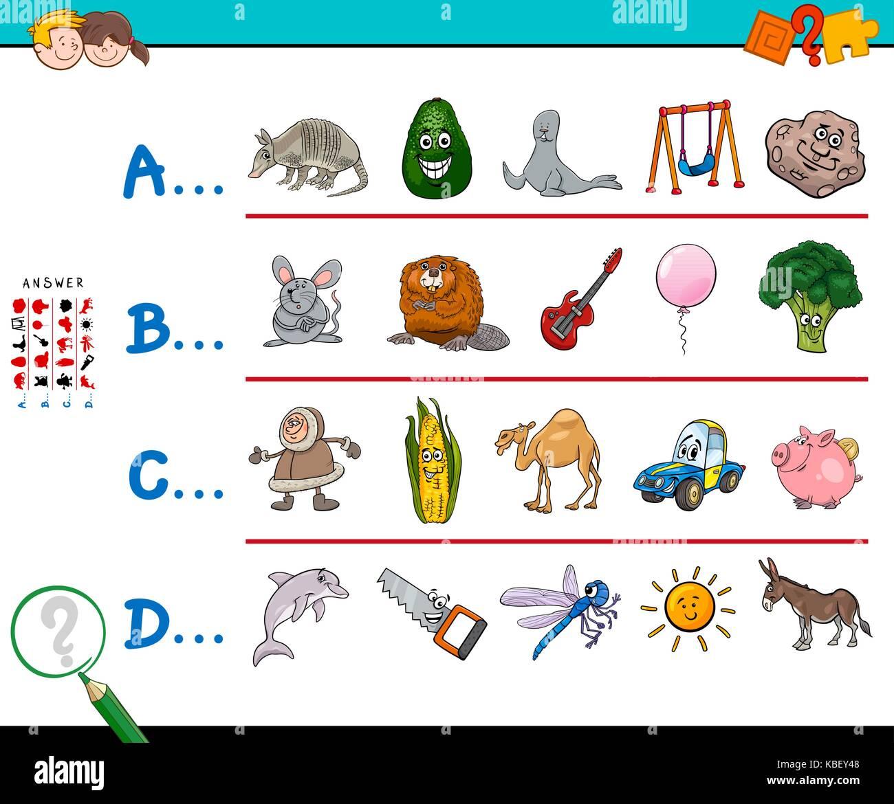 Cartoon Abbildung: Bild suchen Beginnend mit genannten Buchstaben ...