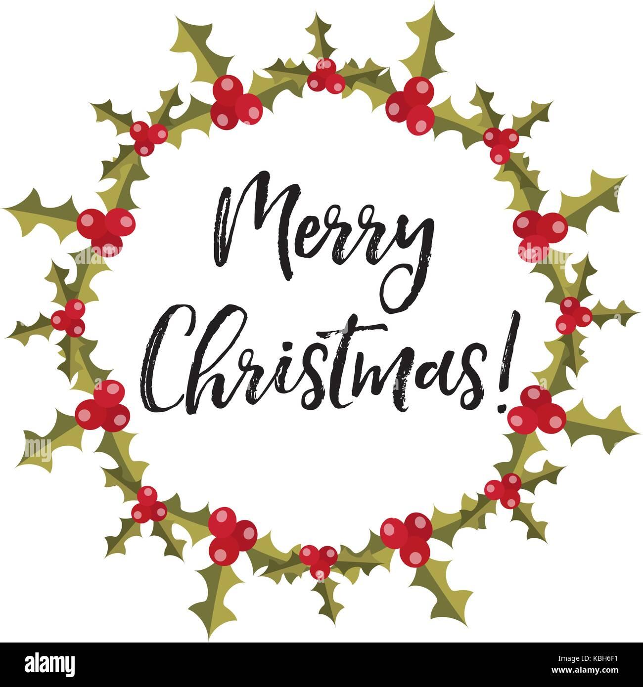 Frohe Weihnachten Rahmen für Text mit Holly. Kranz Vorlage für Ihr ...
