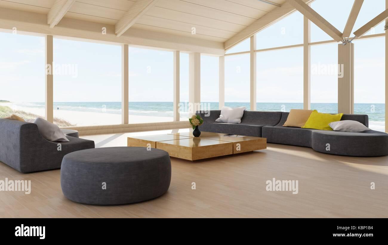 Moderner Luxus Wohnzimmer Interieur Mit Wrap Around Glaswände Mit Blick Auf  Den Ozean Und Einen Großen Modularen Lounge Suite Auf Einem Parkettboden.