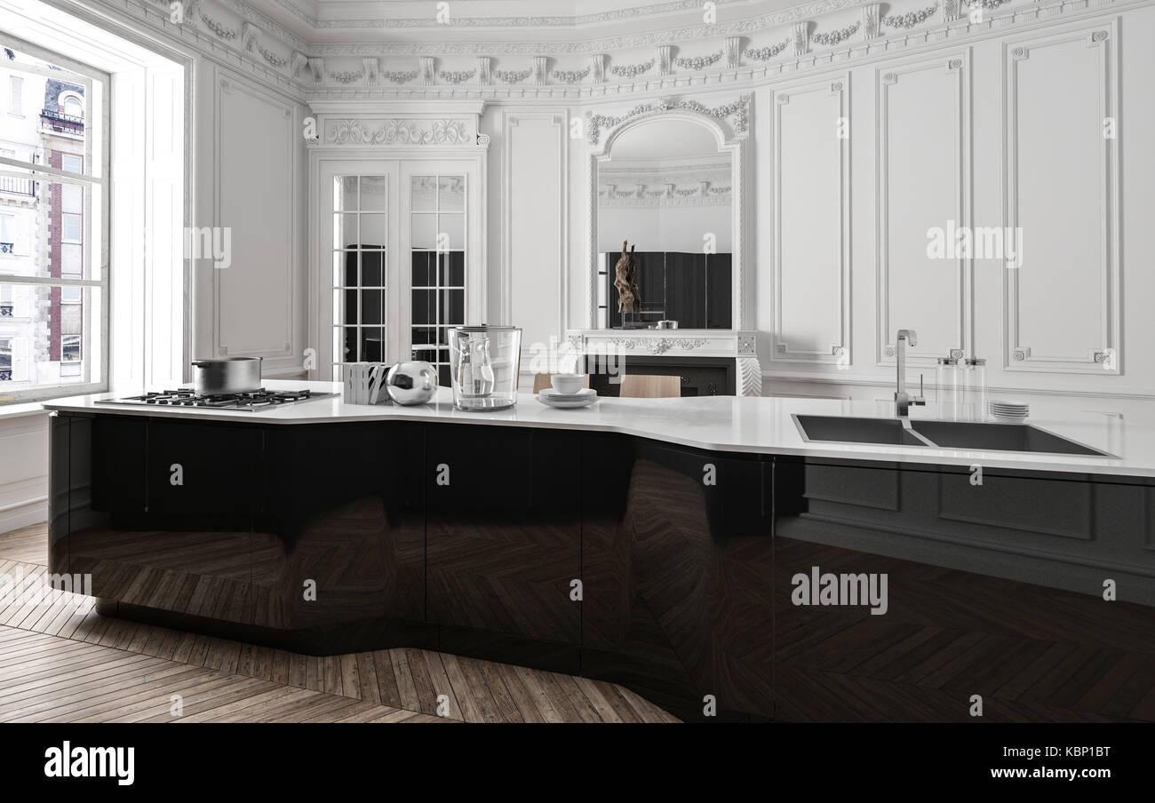 Klassische Moderne schwarz-weiße Küche mit Holzvertäfelung, einem ...